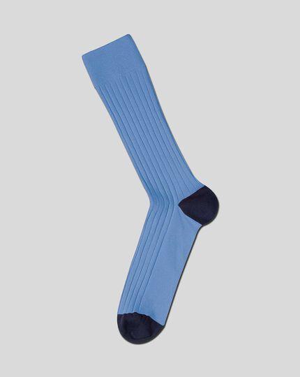 Cotton Rib Socks - Sky