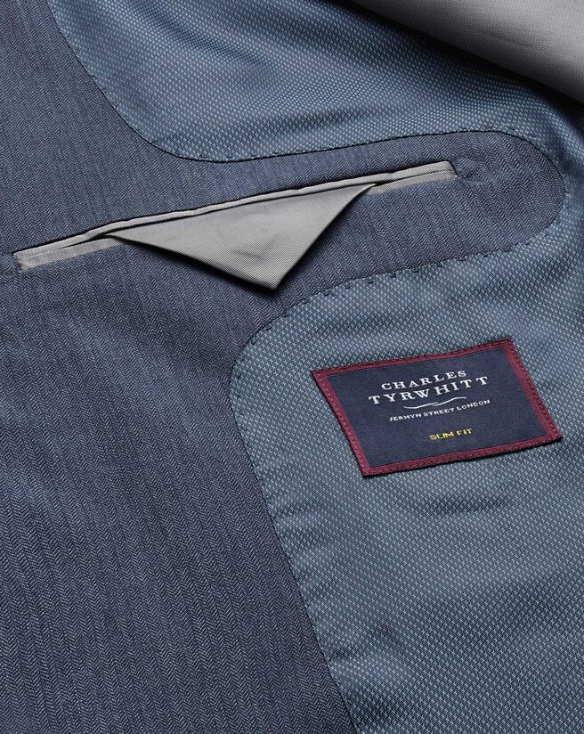 Light blue slim fit herringbone business suit