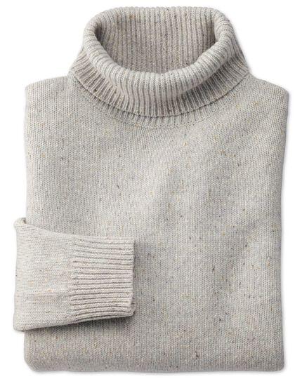 Pull gris clair à col roulé en laine mérinos Donegal