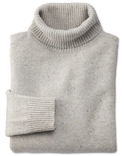 Light grey roll neck Donegal merino sweater