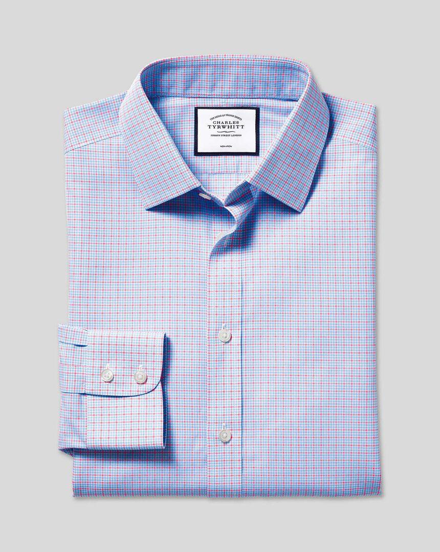 Bügelfreies Popeline-Hemd mit Kent-Kragen und Karos - Blau & Rot