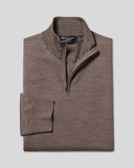 Merino Zip Neck Sweater - Mocha