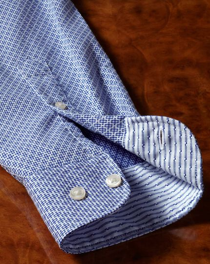 Classic fit washed royal blue gingham textured shirt