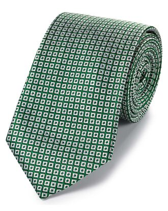 Green and white silk square lattice classic tie