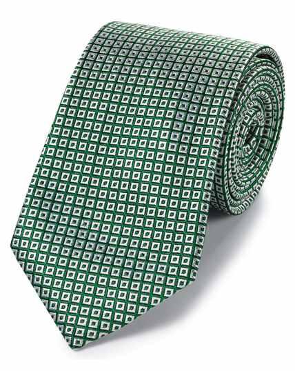 Green and white silk square lattice classic tie