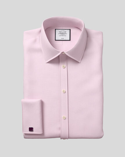 Classic Collar Non-Iron Mini Herringbone Shirt - Pink