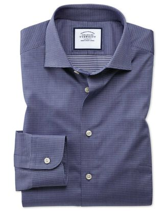Classic fit semi-spread collar business casual navy multi puppytooth shirt