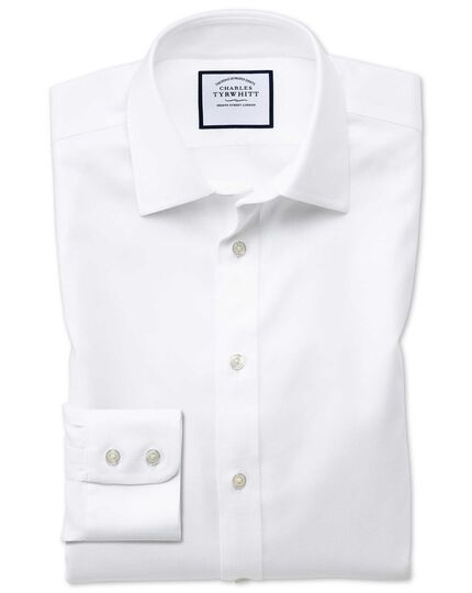 Extra slim fit non-iron step weave white shirt