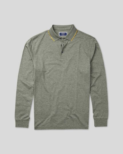 Cotton TENCEL™ Mix Long Sleeve Pique Polo - Green