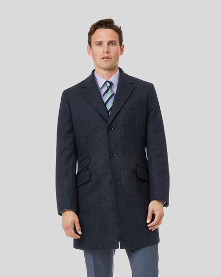 Herringbone British Wool Cotton Epsom Coat - Navy
