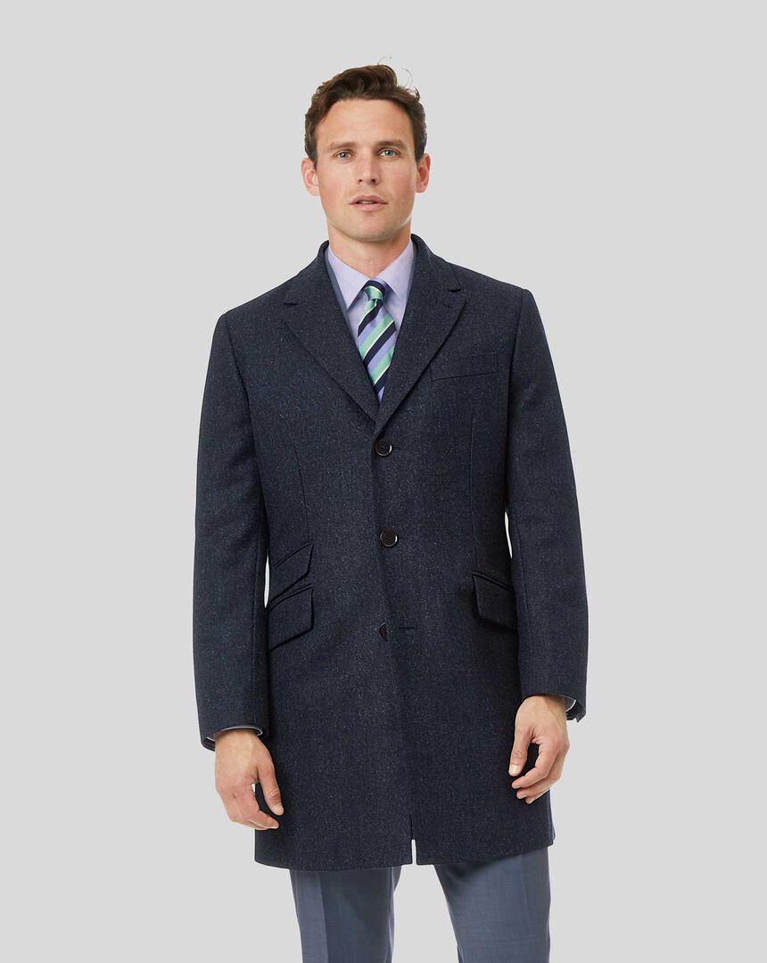 Epsom-Mantel aus britischer Wolle & Baumwolle mit Fischgrätmuster - Marineblau