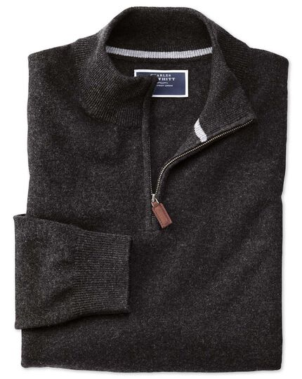 Charcoal zip neck pure cashmere jumper
