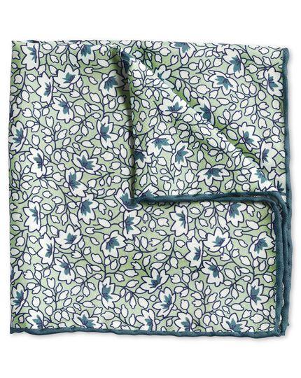 Einstecktuch mit Blumenmuster in Grün & Weiß