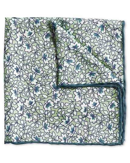 Green and white floral print pocket square