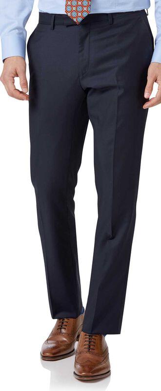 Slim Fit Luxus Anzug Hose aus italienischem Twill in Marineblau