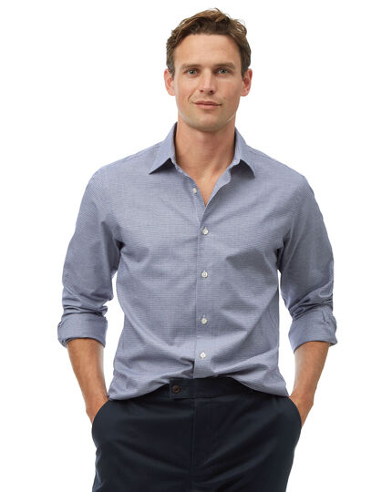 Ganzjährig tragbares Slim Fit Hemd aus Strukturgewebe in Blau