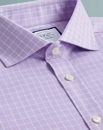 Slim fit textured check lilac shirt