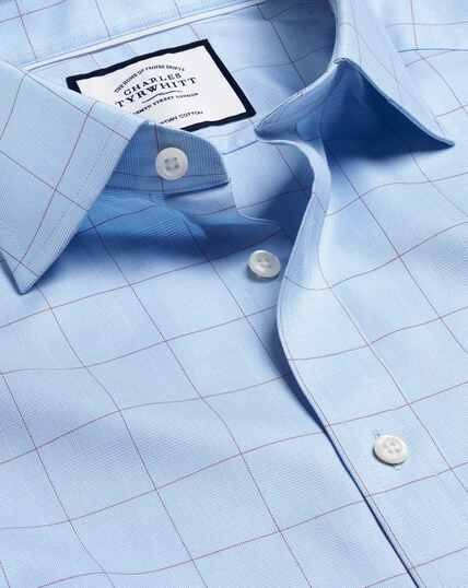 Semi-Cutaway Collar Egyptian Cotton Twill Prince Of Wales Check Shirt - Blue