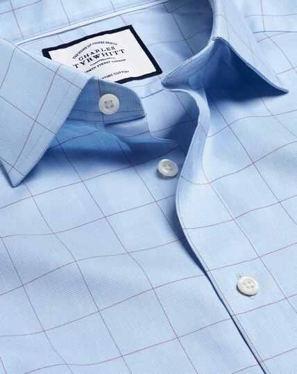 Twill-Hemd aus ägyptischer Baumwolle mit Semi-Haifischkragenund Prince-of-Wales-Karos - Blau