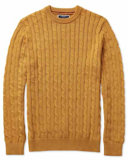 Yellow Pima cotton crew neck jumper