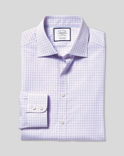 Semi-Cutaway Collar Egyptian Cotton Poplin Check Shirt - Lilac
