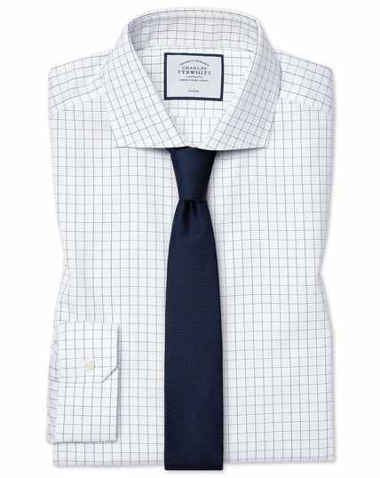 Super slim fit cutaway collar non-iron cotton stretch Oxford blue and white check shirt