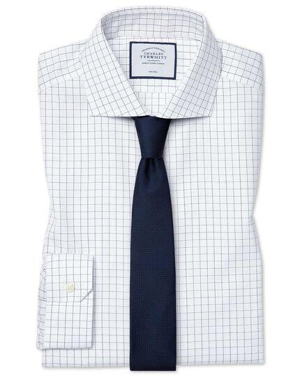 Super slim fit cutaway collar non-iron cotton stretch Oxford blue and white check shirt