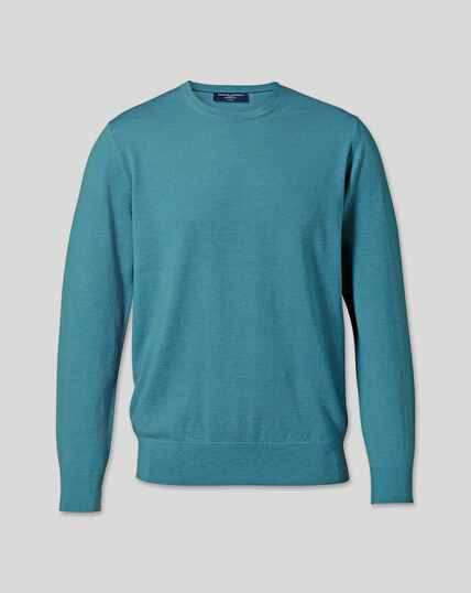 Merino Crew Neck Sweater - Teal Melange