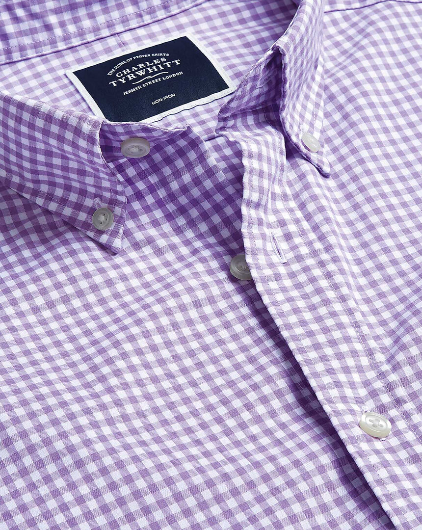 Button-Down Collar Short Sleeve Soft Washed Stretch Poplin Check Shirt - Lilac