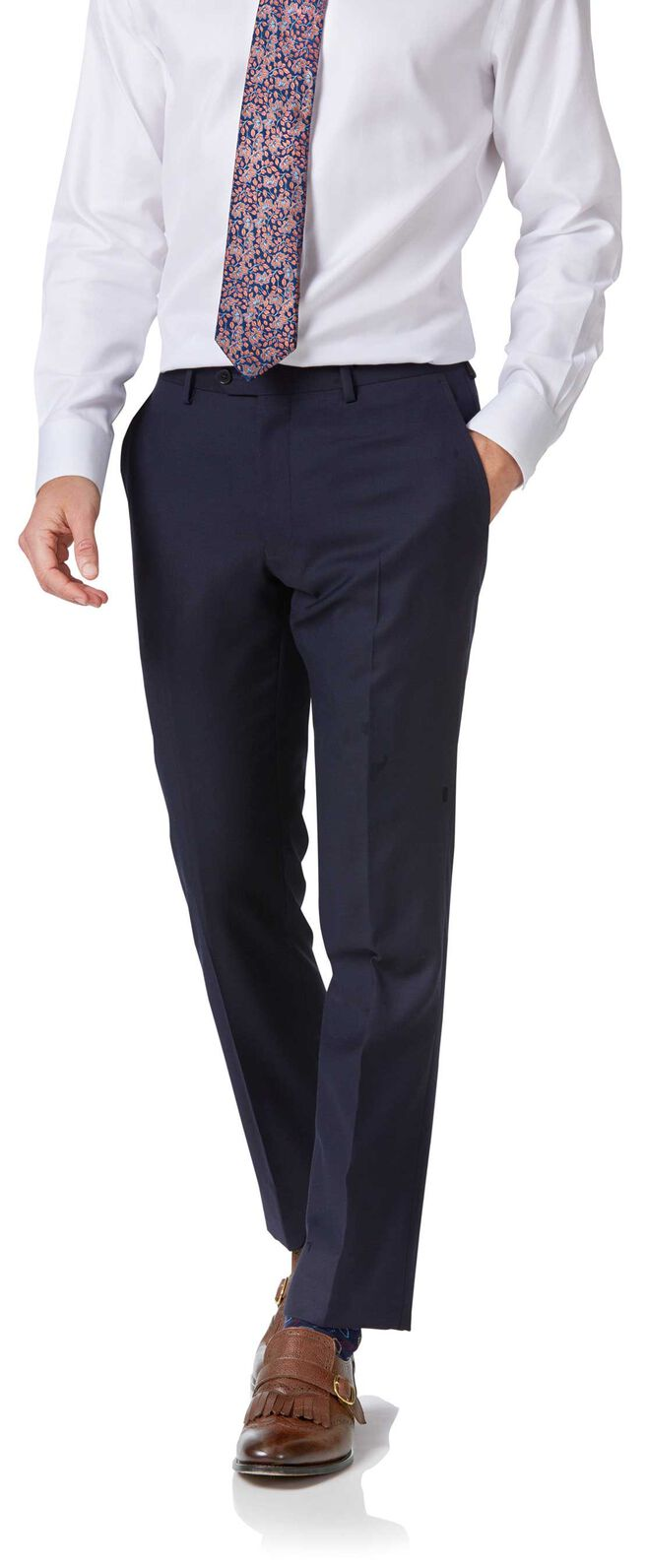 Navy twill slim fit double breasted business suit