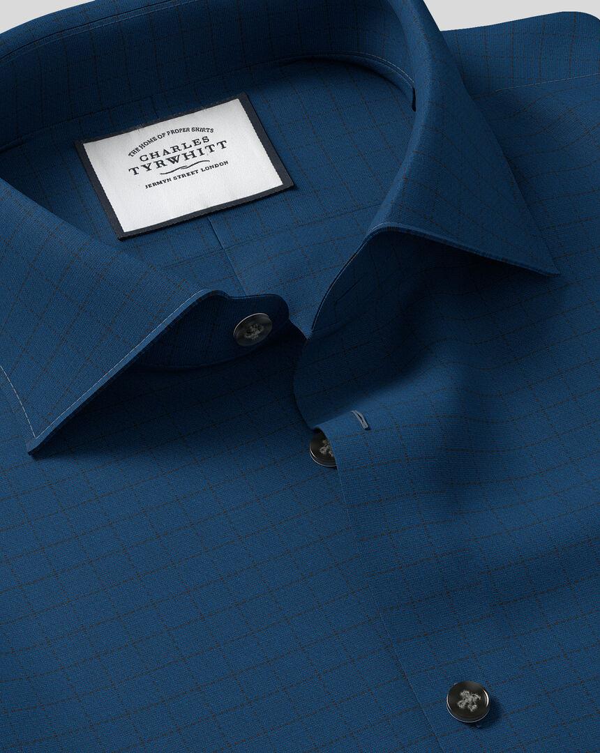 Business Casual Collar Check Shirt - Petrol Blue
