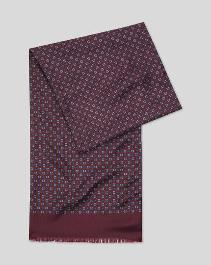 Printed Silk Scarf  - Burgundy