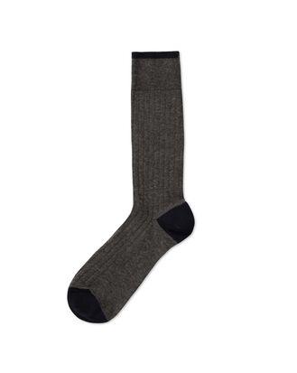 Grey marl plain cotton rib socks