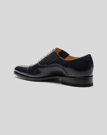 Goodyear Welted Oxford Slip On Shoe  - Black