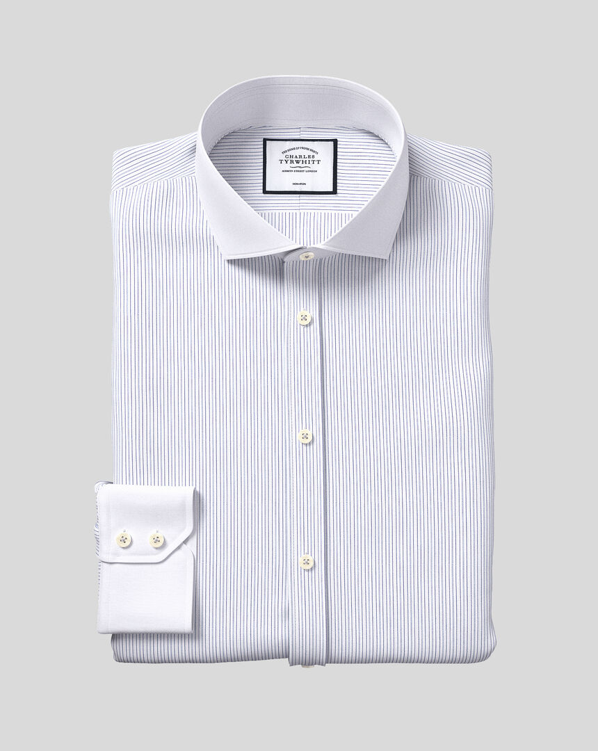 Bügelfreies Hemd mit Haifischkragen und Winchester-Streifen - Blau & Weiß
