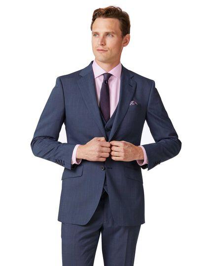Veste de costume bleu clair slim fit à tissage échelle