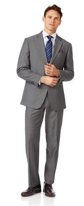 Business-Anzug Classic Fit Twill Grau