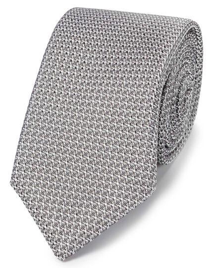 Silver silk grenadine Italian luxury tie