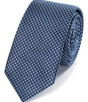 Sky blue and navy mini puppytooth slim tie