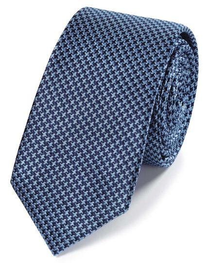 Schmale Krawatte mit Mini-Hahnentrittmuster in Himmelblau & Marineblau