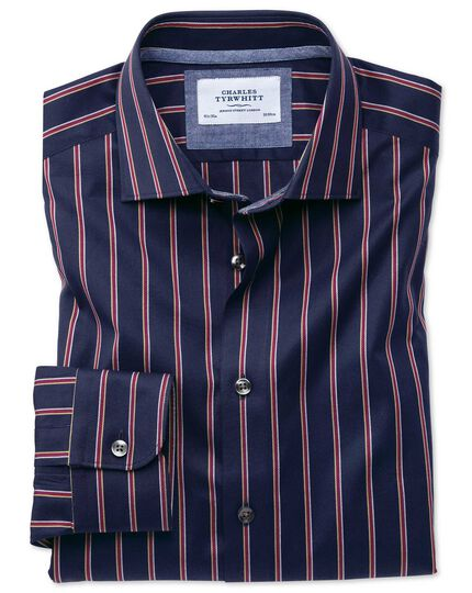 Extra slim fit semi-spread collar business casual boating navy and red stripe shirt