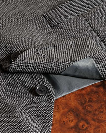 Light grey adjustable fit sharkskin travel suit waistcoat