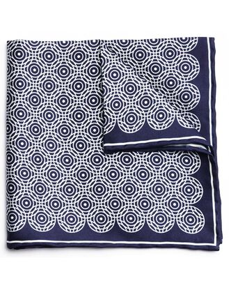 Navy and white silk circle printed pocket square