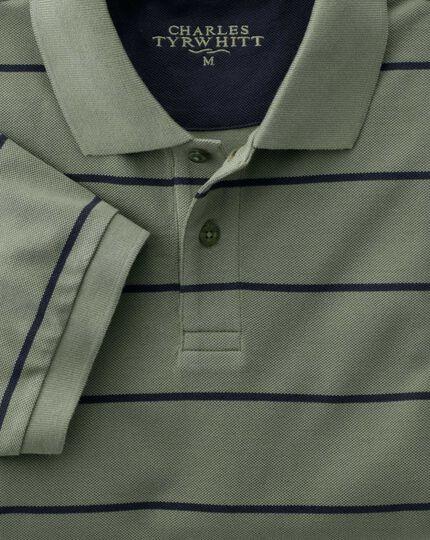 Green and navy stripe pique polo