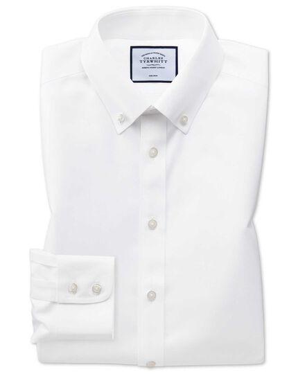 Bügelfreies Extra Slim Fit Twill-Hemd mit Button-down Kragen in Weiß