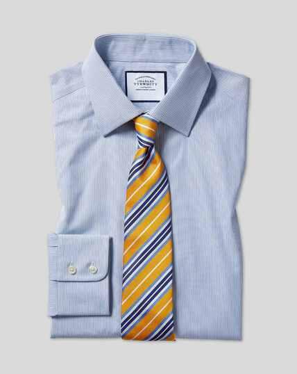 Classic Collar Poplin Stripe Shirt- Blue