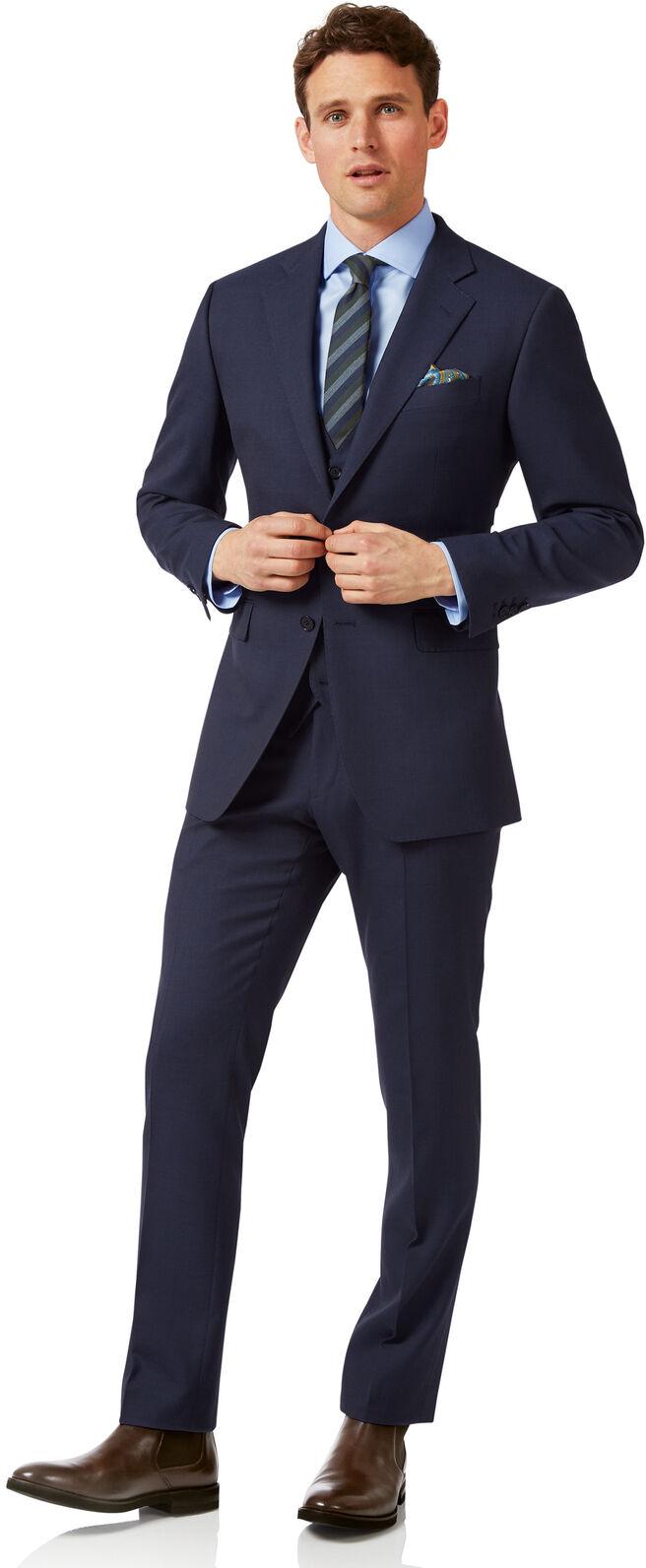 Navy slim fit sharkskin travel suit