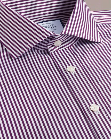 Extra slim fit non-iron cutaway collar berry twill stripe shirt
