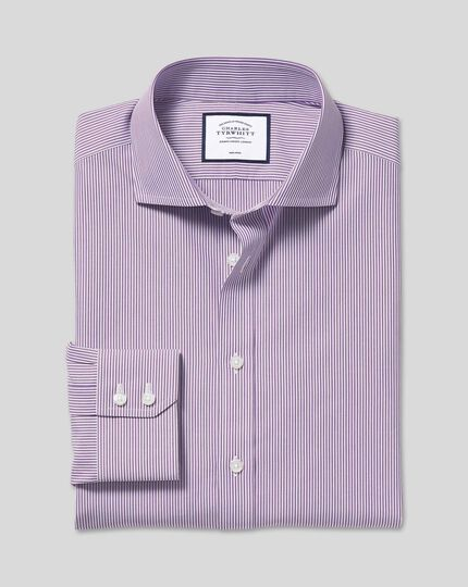 Spread Collar Non-Iron Bengal Stripe Shirt - Purple