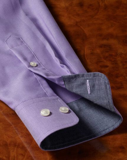 Slim fit non-iron Oxford purple plain shirt